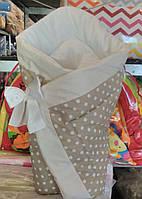 Демисезонный конверт одеяло для новорожденных на выписку весна/осень  90х90см Бежевый горох