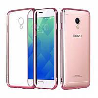 Чехол для Meizu M5s с глянцевым бампером розовый
