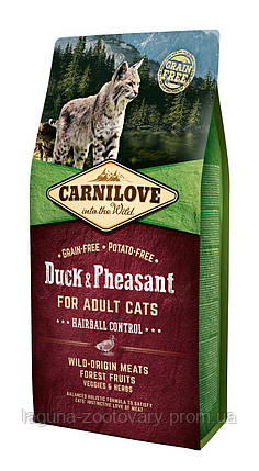 Carnilove Cat 6 kg Duck & Pheasant - Hairball Controll (д/выведения шерстяных комочков), фото 2