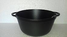 Кастрюля  чугунная эмалированная без крышки. Матово-чёрная. Объем 4,0 литра, 240х115 мм