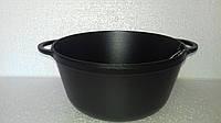 Кастрюля  чугунная эмалированная без крышки. Матово-чёрная. Объем 5,5 литров, 260х130 мм, фото 1