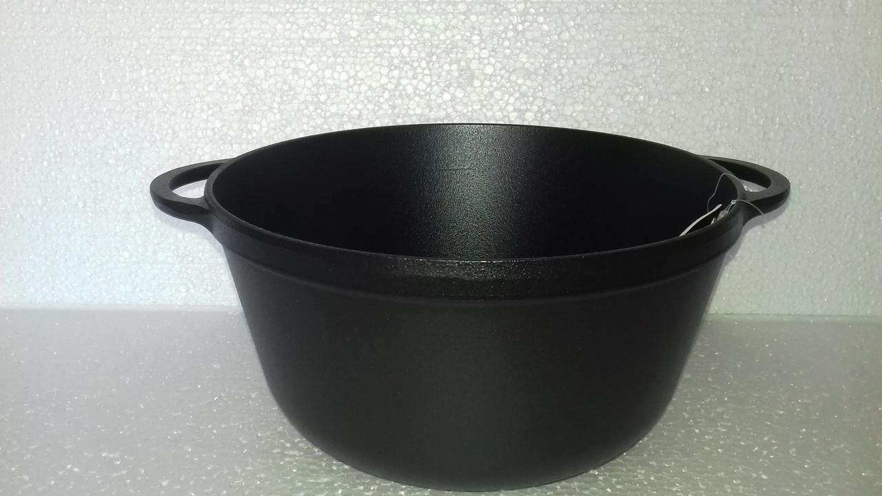 Кастрюля  чугунная эмалированная без крышки. Матово-чёрная. Объем 8 литров, 300х140 мм