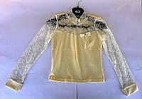 Блуза водолазка с кружевом 104-140см