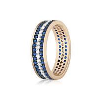 """Позолоченное кольцо с имитацией сапфира """"374"""""""