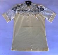 Блуза футболка с кружевом 104-140см