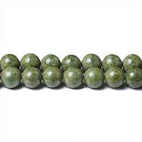 Зеленый Речной камень, Натуральный камень, На нитях, бусины 8 мм, Шар, кол-во: 47-48 шт/нить