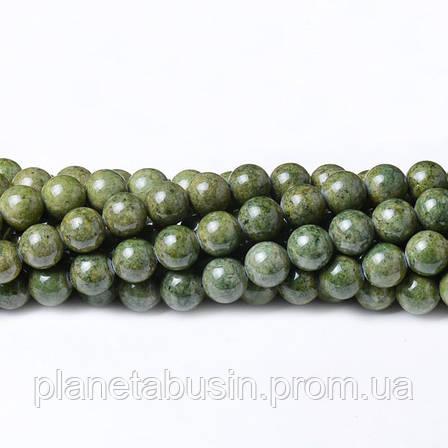 8 мм Речной Камень зелёный, CN327, Натуральный камень, Форма: Шар, Отверстие: 1мм, кол-во: 47-48 шт/нить, фото 2