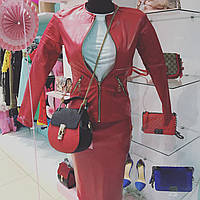 Женская куртка кожзам на змейке