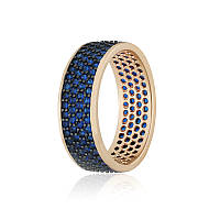 """Позолоченное кольцо с имитацией сапфира """"373"""""""