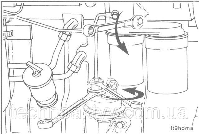 Ключи 14 мм, 17 мм  Отсоедините топливопровод от топливоподкачивающего насоса и головки фильтра. Пользуйтесь двумя ключами при отсоединении топливопровода от насоса.