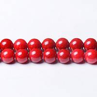 Красный Речной камень, Натуральный камень, На нитях, бусины 8 мм, Шар, кол-во: 47-48 шт/нить