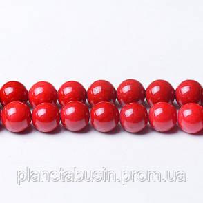 8 мм Речной Камень красный, CN328, Натуральный камень, Форма: Шар, Отверстие: 1мм, кол-во: 47-48 шт/нить, фото 2