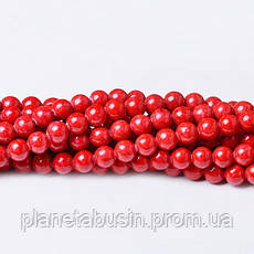 8 мм Речной Камень красный, CN328, Натуральный камень, Форма: Шар, Отверстие: 1мм, кол-во: 47-48 шт/нить, фото 3