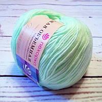 Нитки  для ручного вязания, пряжа,Детская Объемная Салатовый (микрофибра)