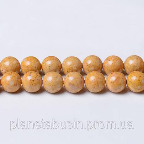 8 мм Речной Камень песочный, CN329, Натуральный камень, Форма: Шар, Отверстие: 1мм, кол-во: 47-48 шт/нить, фото 2