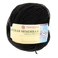 Нитки  для ручного вязания, пряжа, мДетская Объемная Черный (микрофибра)