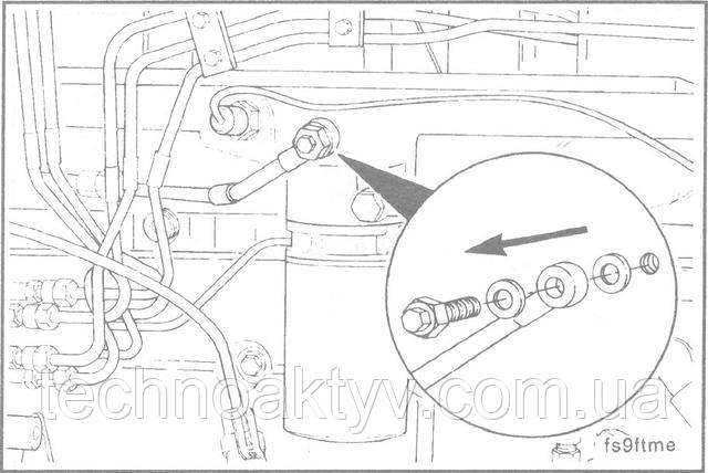 """Ключ 17 мм  Снимите болт соединения """"банджо"""" вместе с вентиляционным винтом."""