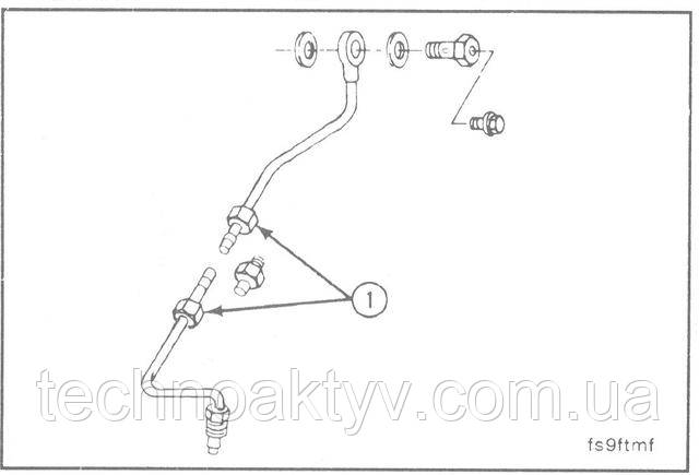 Ключи 14 мм, 16 мм, 17 мм  Снимите подводящий топливопровод (топливный насос Bosch).  На снятом топливопроводе замените уплотняющие прокладки (1) в местах соединений.