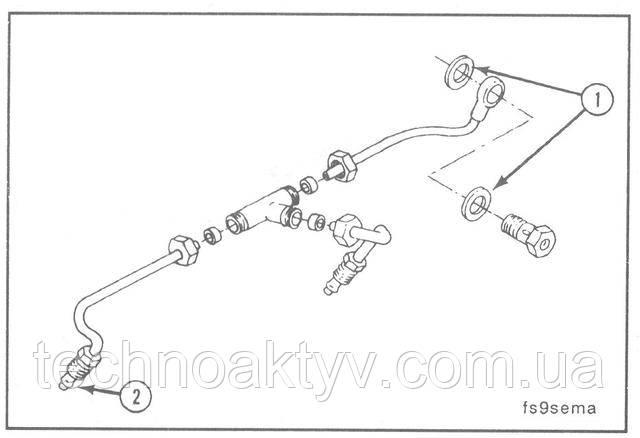 """Ключи 14 мм, 16 мм, 19 мм и 24 мм  У насоса Lucas CAV имеется два соединения подводящего топливопровода.  На снятом топливопроводе замените уплотняющие прокладки в местах соединений.  Замените кольцевые прокладки (1) соединения """"банджо"""" и уплотнительные втулки (2).  Крутящий момент затяжки:32 Н • м [24 ft-lb]"""