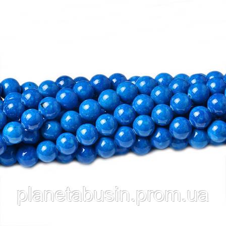 8 мм Речной Камень голубой, CN331, Натуральный камень, Форма: Шар, Отверстие: 1мм, кол-во: 47-48 шт/нить, фото 2
