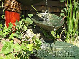 Водный каскад из  бетонных листьев. Декоративный пруд. 2