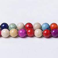 Речной камень Микс, Натуральный камень, На нитях, бусины 8 мм, Шар, кол-во: 47-48 шт/нить