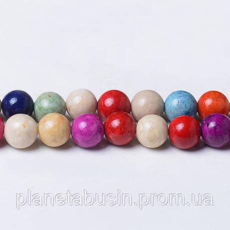 8 мм Речной Камень микс, CN333, Натуральный камень, Форма: Шар, Отверстие: 1мм, кол-во: 47-48 шт/нить, фото 2