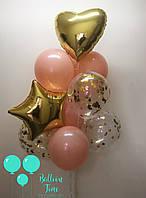 Фонтан из пудрово-золотых шаров с конфетти