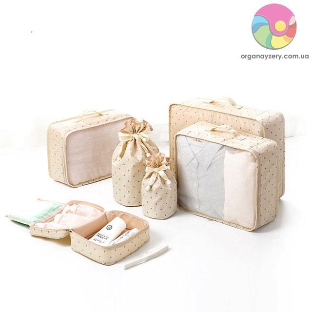 Дорожный комплект сумочек в чемодан (бежевый)
