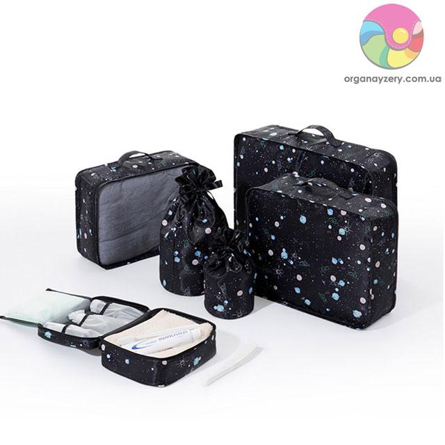 Дорожный комплект сумочек в чемодан (черный)