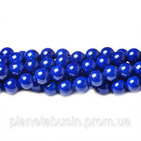 8 мм Речной Камень синий, CN334, Натуральный камень, Форма: Шар, Отверстие: 1мм, кол-во: 47-48 шт/нить, фото 2