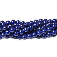 Темно-Синий Речной камень, Натуральный камень, На нитях, бусины 8 мм, Шар, кол-во: 47-48 шт/нить