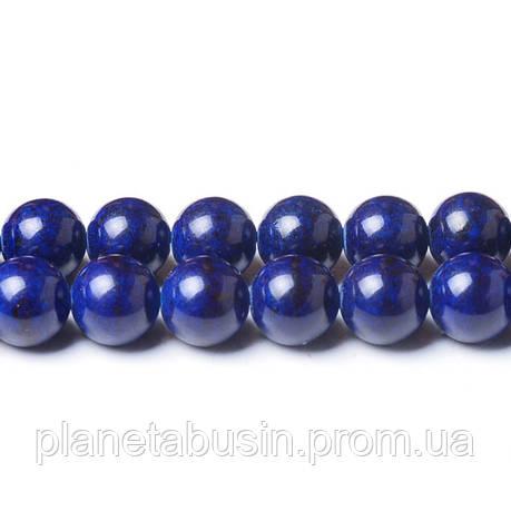 8 мм Речной Камень тёмно-синий, CN335, Натуральный камень, Форма: Шар, Отверстие: 1мм, кол-во: 47-48 шт/нить, фото 2