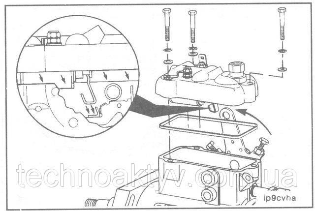 Ключ 5/16 дюйма  Установите прокладку и крышку на топливный насос высокого давления.  ПРИМЕЧАНИЕ:При установке крышки на топливный насос необходимо соблюдать крайнюю осторожность, обеспечив надежный контакт рычага выключения с лапкой соединительного крючка.  Установите крышку под нисходящим углом к насосу со стороны валика привода ТНВД, затем горизонтальным скольжением установите ее в требуемое положение.  Крутящий момент затяжки:4,6 Н • м [41 in-lb]