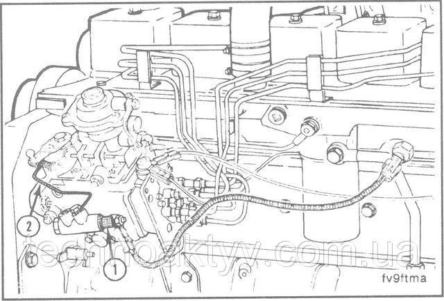 "ТЗО TORX, 12 мм  Отсоедините пучки проводов от электромагнита KSB(1).  Отсоедините топливопроводы(2).  Замените KSB, топливопроводы и пучки проводов.  Крутящий момент затяжки:  Соединения ""банджо""топливопровода:12 Н • м [9ft-lb]  Установочные гайки KSB:9 Н • м [7 ft-lb]"