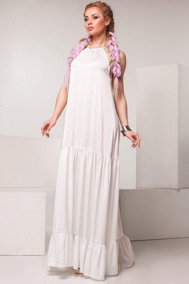 000ae57d1dd Женское белое длинное платье с рюшами -