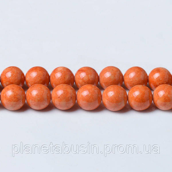 8 мм Речной Камень оранж, CN339, Натуральный камень, Форма: Шар, Отверстие: 1мм, кол-во: 47-48 шт/нить