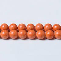 Речной камень Оранж, Натуральный камень, На нитях, бусины 8 мм, Шар, кол-во: 47-48 шт/нить