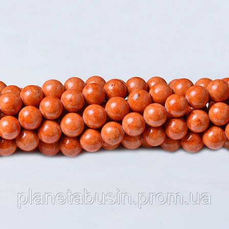 8 мм Речной Камень оранж, CN339, Натуральный камень, Форма: Шар, Отверстие: 1мм, кол-во: 47-48 шт/нить, фото 2