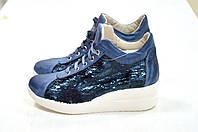 Женские итальянские кожаные синие туфли на платформе с пайетками сникерсы  Roberta Lopes, фото 1