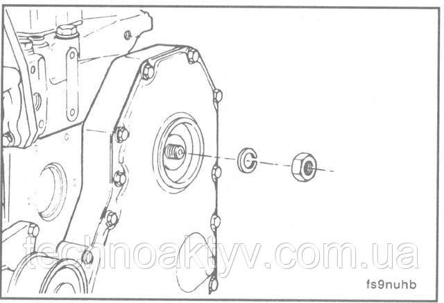 Ключи 22 мм (CAV Stanadyne), 24 мм (Bosch)  Поставьте на место гайку и пружинную шайбу. Насос может слегка поворачиваться из-за спиральности зубьев и бокового зазора шестерен, что допускается при условии, что насос может свободно перемещаться по канавкам фланца, коленчатый вал при этом остается неподвижным.  ПРИМЕЧАНИЕ:Нельзя превышать указанную величину затяжки, имея в виду, что это не окончательная затяжка.  Крутящий момент затяжки:от 15 до 20 Н • м[11 to 15 ft-lb]
