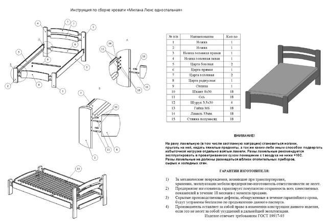 Инструкция пос сборке кровати Милана Люкс