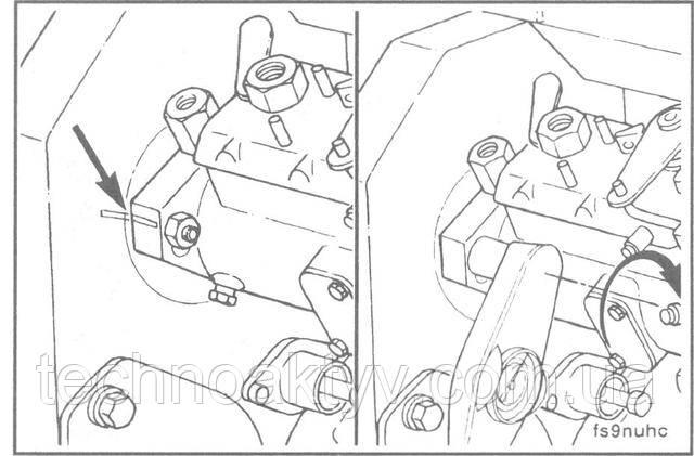 Ключ 13 мм  Если устанавливается снятый с этого двигателя насос, то, устанавливая его на двигатель, поворачивайте насос до совпадения рисок, затем затяните гайки крепления насоса.  Внимание ! После установки насос нужно разблокировать во избежание его поломки.  Крутящий момент затяжки: 24 Н • м [18 ft-lb]