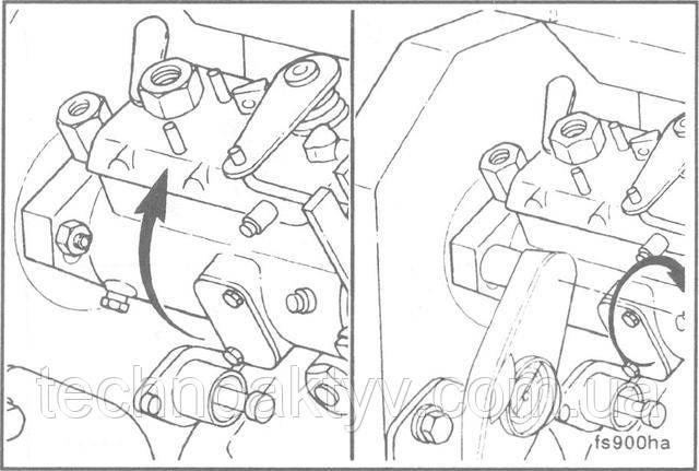 Ключ 13 мм  Если устанавливается новый или отремонтированный насос без установочных рисок, устраните зазор шестерен, поворачивая насос против направления вращения привода.  Затяните крепежные гайки насоса.  Крутящий момент затяжки: 24 Н• м[18ft-lb]