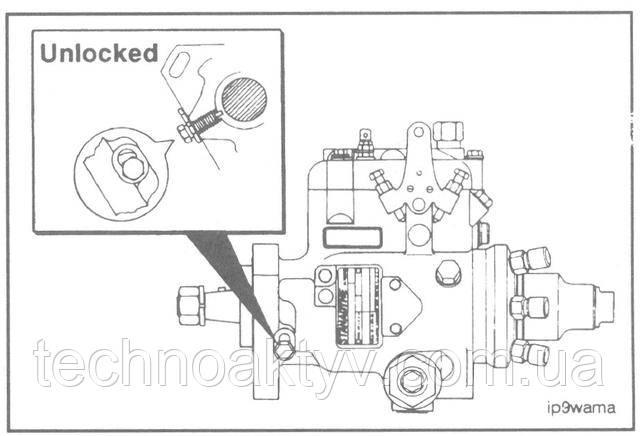 Ключ 3/8 дюйма  Ослабьте стопорный болт насоса Stanadyne DB4 и передвинте специальную шайбу под его головкой.  Затяните стопорный болт.