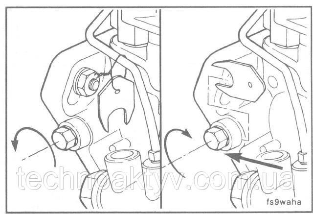 Ключ 10 мм  ПРИМЕЧАНИЕ:На насосах Bosch специальная шайба привязана к насосу и должна быть установлена под стопорный болт.  Затяните стопорный болт насоса.  Крутящий момент затяжки: 13 Н • м [10 ft-lb]