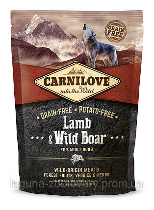 Carnilove Lamb & Wild Boar 1,5 kg (корм для взрослых собак с ягненком и диким кабаном), фото 2