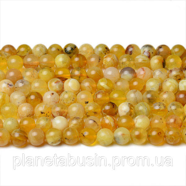 8 мм Жёлтый Опал, CN341, Натуральный камень, Форма: Шар, Отверстие: 1мм, кол-во: 47-48 шт/нить