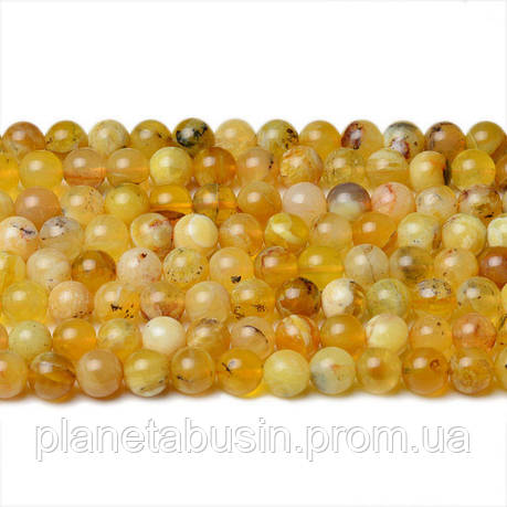 8 мм Жёлтый Опал, CN341, Натуральный камень, Форма: Шар, Отверстие: 1мм, кол-во: 47-48 шт/нить, фото 2