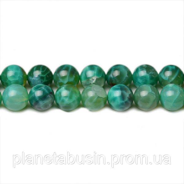 8 мм Зелёный Огненный Агат, CN342, Натуральный камень, Форма: Шар, Отверстие: 1мм, кол-во: 47-48 шт/нить